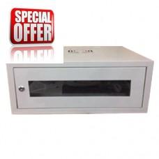 RACK60/1 CABIN WALL WITH GLASS DOOR 6U (530X400X300) with 6 way multiscocket,Fan & Shelf